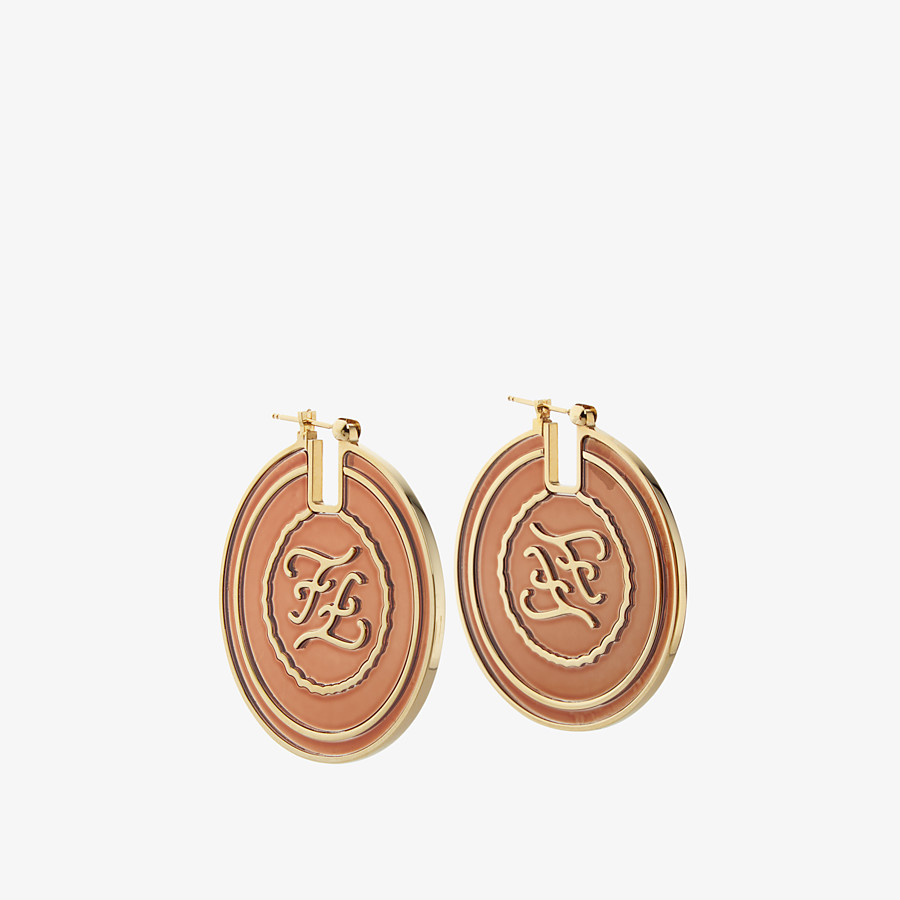 FENDI KARLIGRAPHY EARRINGS - Gold and red coloured earrings - view 1 detail