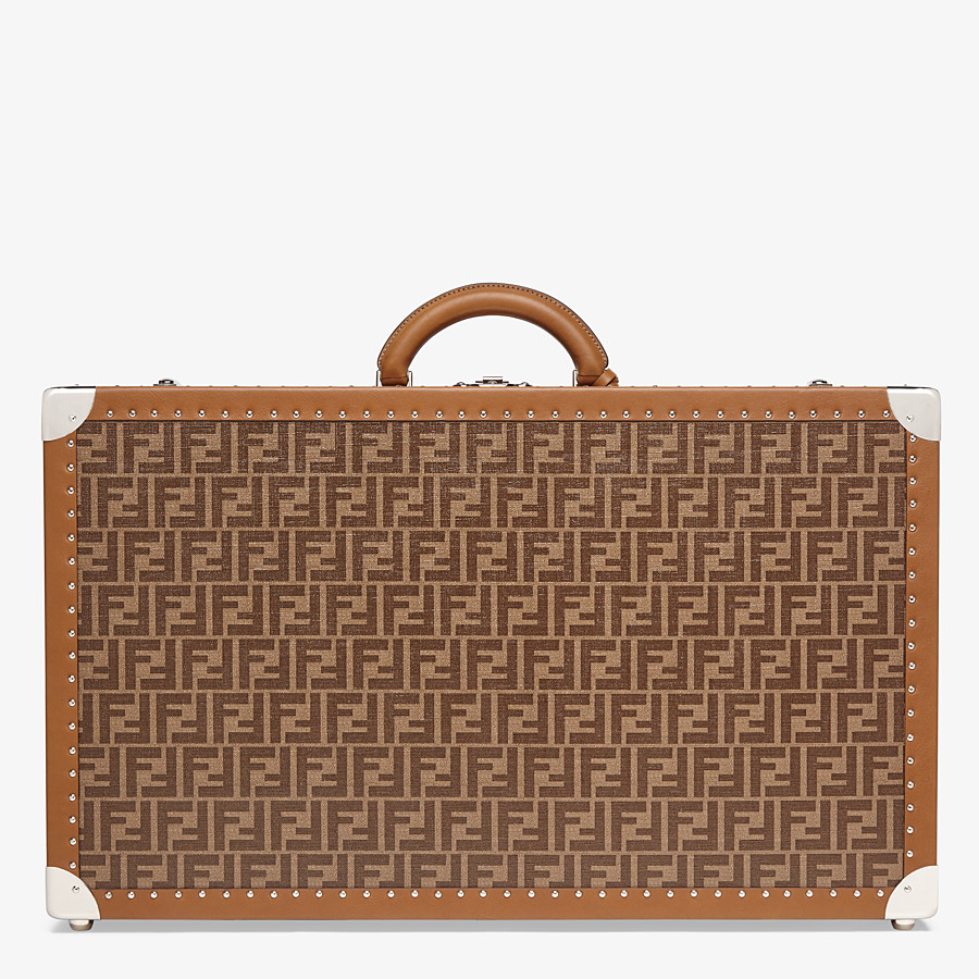 FENDI RIGID SUITCASE LARGE - Brown fabric suitcase - view 3 detail