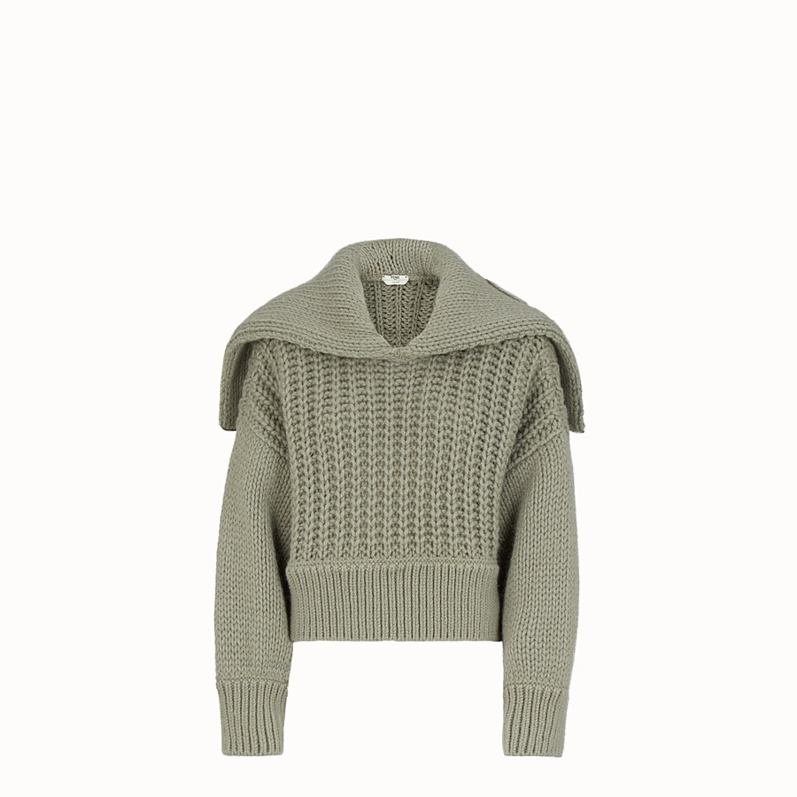 FENDI BLOUSE - Green wool pullover - view 1 detail