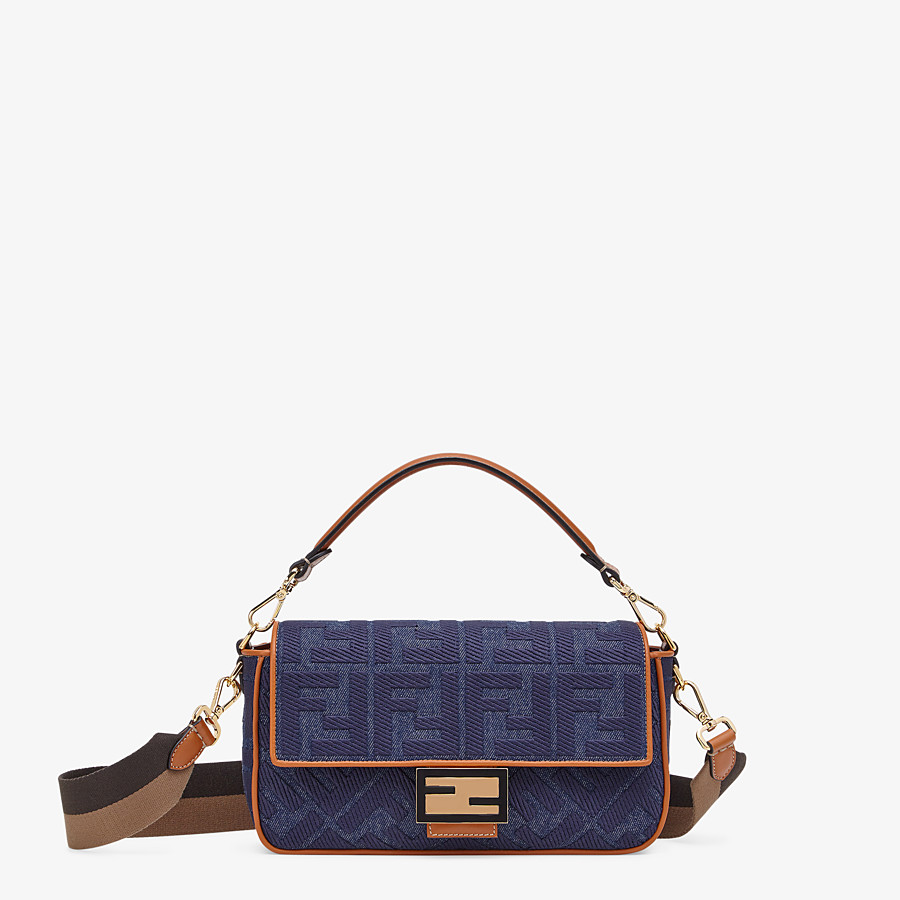 FENDI BAGUETTE - Tasche aus Denim in Blau - view 1 detail