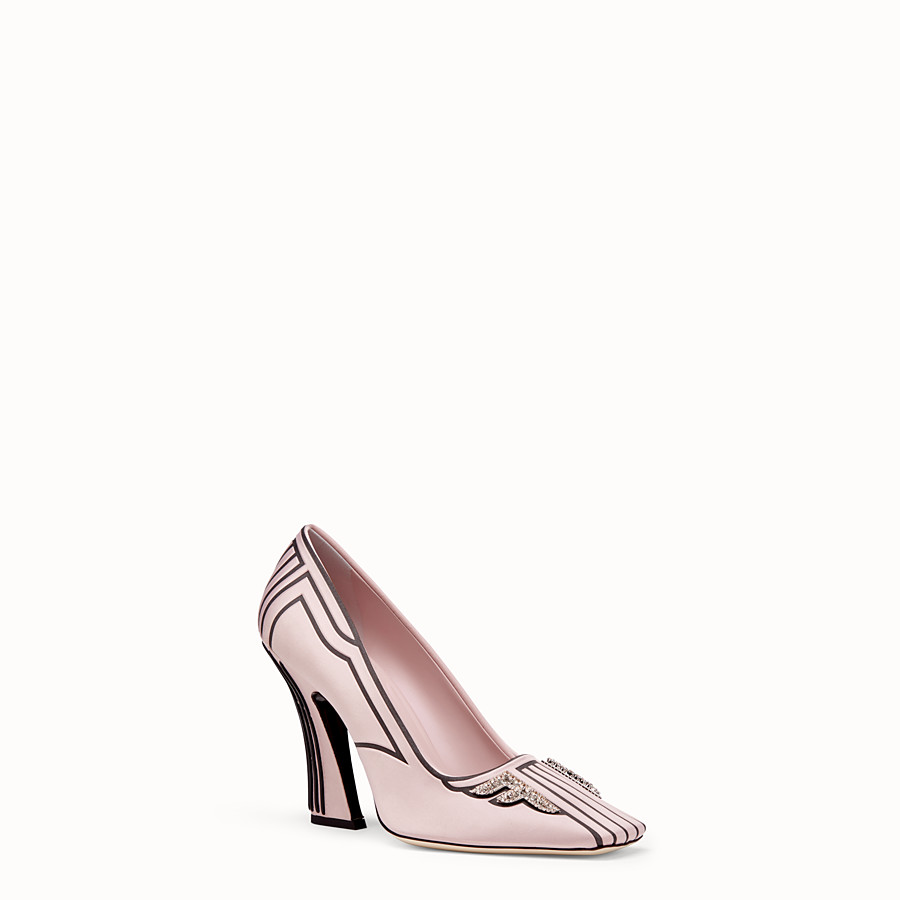 FENDI PUMPS - Pink satin pumps - view 2 detail