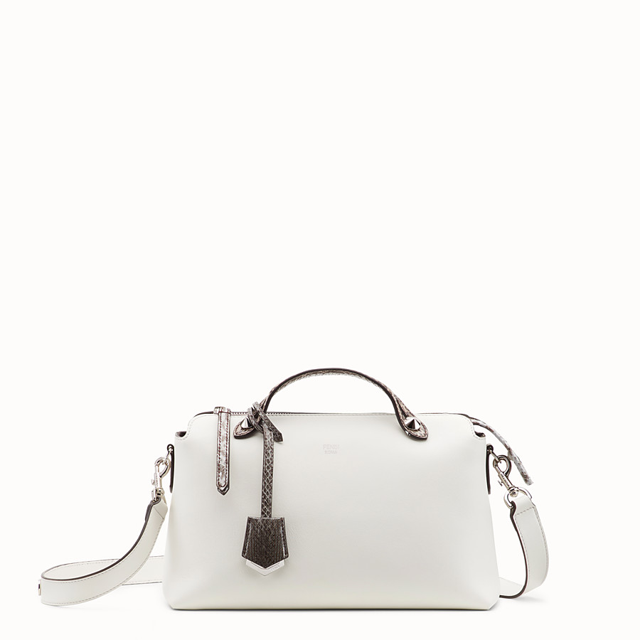 FENDI BY THE WAY REGULAR - White leather Boston bag with exotic details - view 1 detail