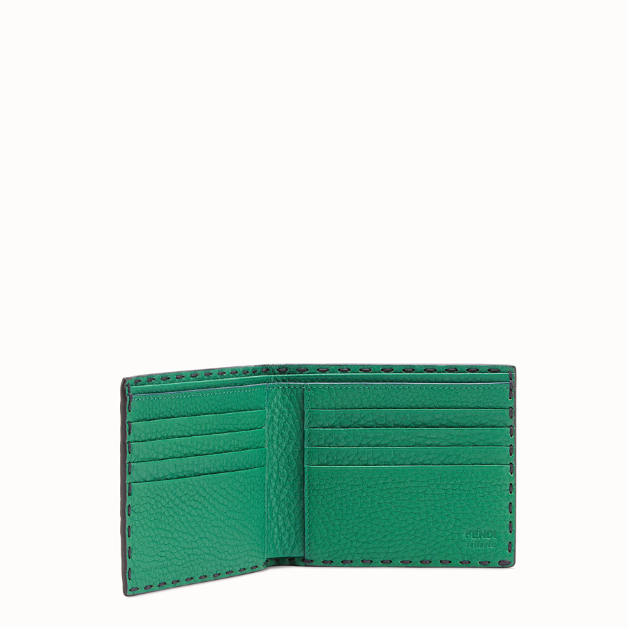 FENDI WALLET - Green leather bi-fold wallet - view 3 detail