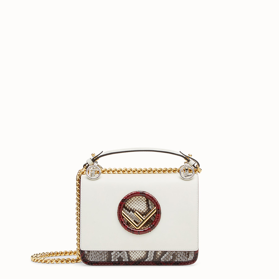 FENDI KAN I F SMALL - White leather mini-bag with exotic details - view 1 detail