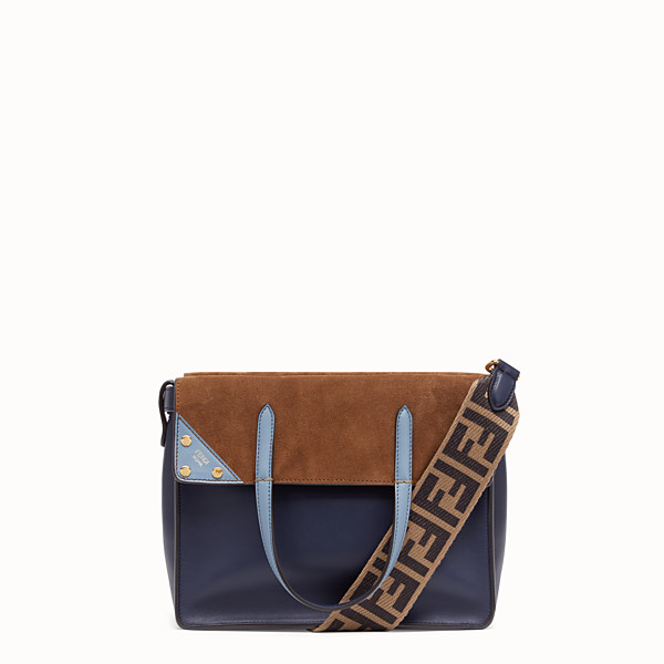 FENDI FENDI FLIP MEDIA - Borsa in pelle blu notte - vista 1 thumbnail piccola