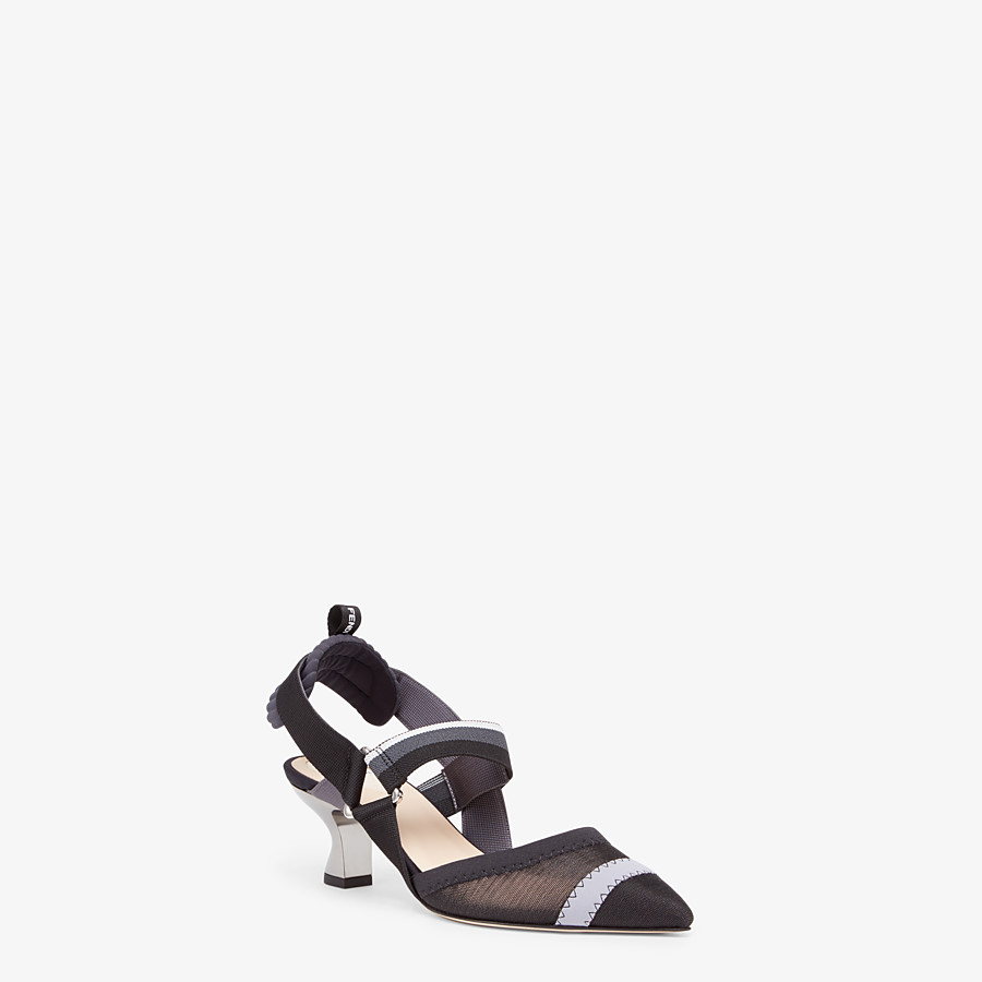 FENDI SLINGBACKS - Colibrì in black mesh - view 2 detail