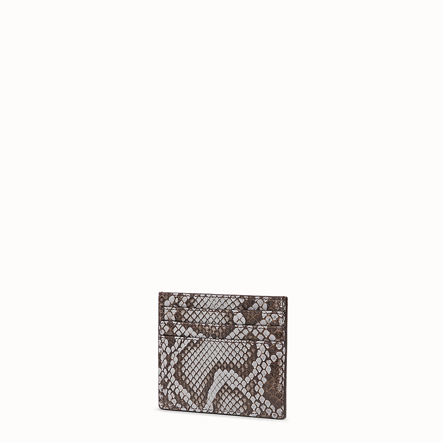 FENDI CARD HOLDER - Flat grey python card holder - view 2 detail