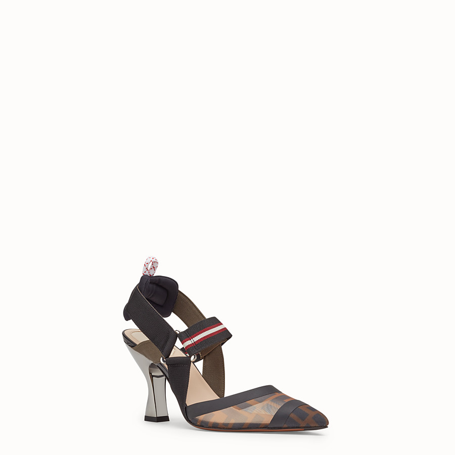 FENDI COURT SHOES - Multicolour tech mesh slingbacks - view 2 detail