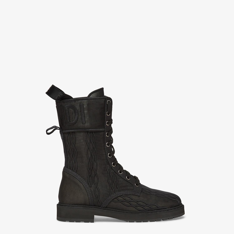 FENDI SIGNATURE BIKER BOOTS - Black canvas boots - view 1 detail
