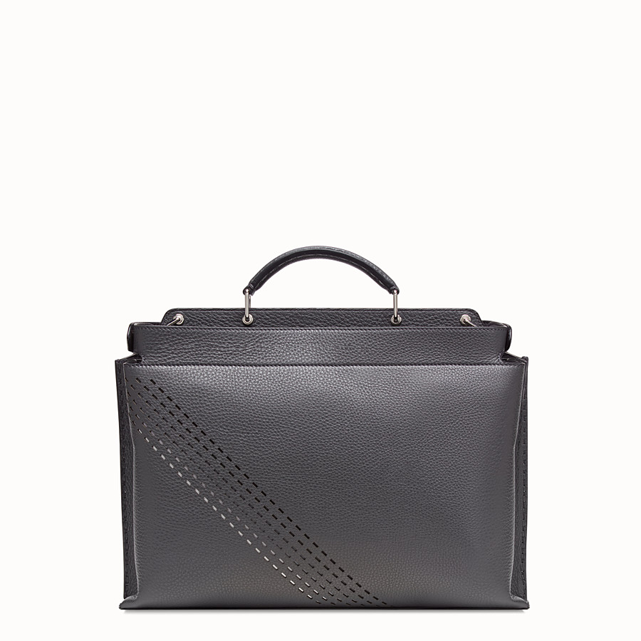 FENDI PEEKABOO ICONIC ESSENTIAL - Grey calf leather bag - view 3 detail