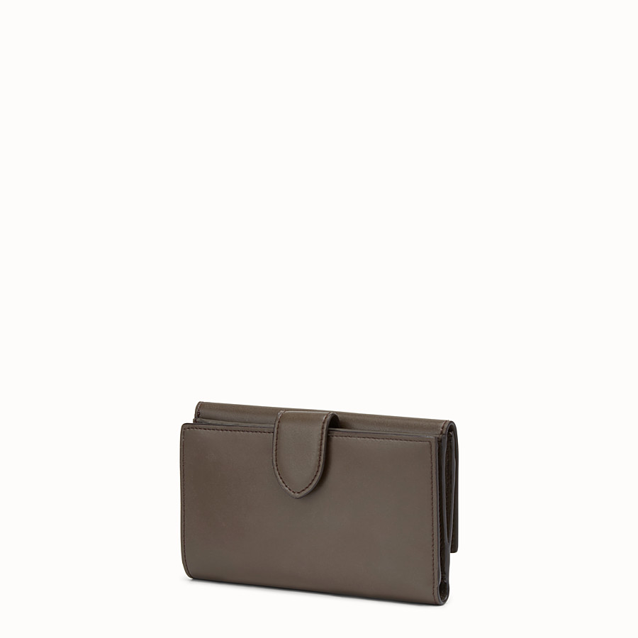 FENDI WALLET - Slim brown leather continental wallet - view 2 detail