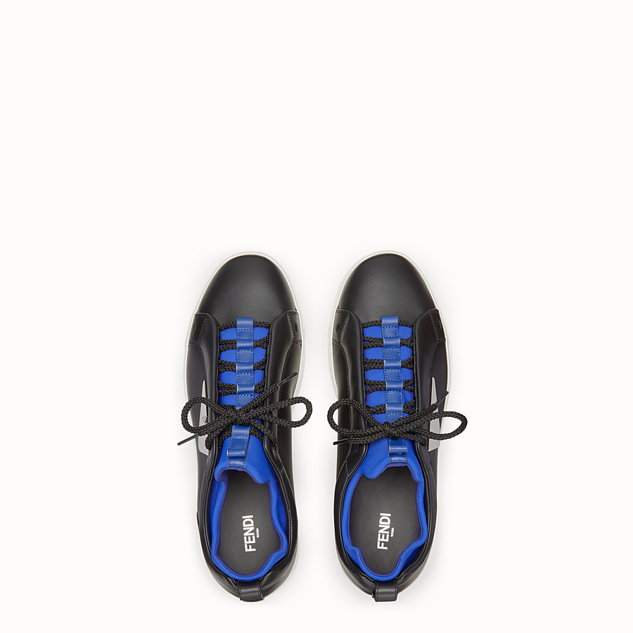FENDI SNEAKERS - Black leather sneakers - view 4 detail