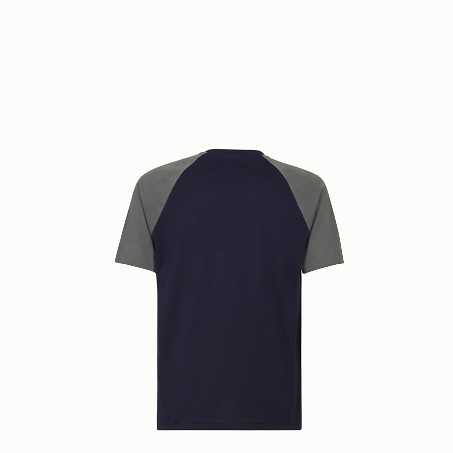 FENDI T-SHIRT - Blue cotton jersey T-shirt. - view 2 detail