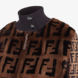FENDI BOMBER - Inlaid mink and knitted fabric bomber - view 3 thumbnail
