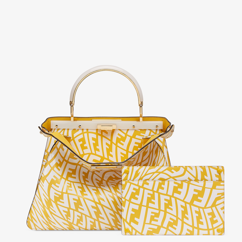 FENDI PEEKABOO ISEEU MOYEN - Sac en cuir FF Vertigo jaune et blanc - view 4 detail