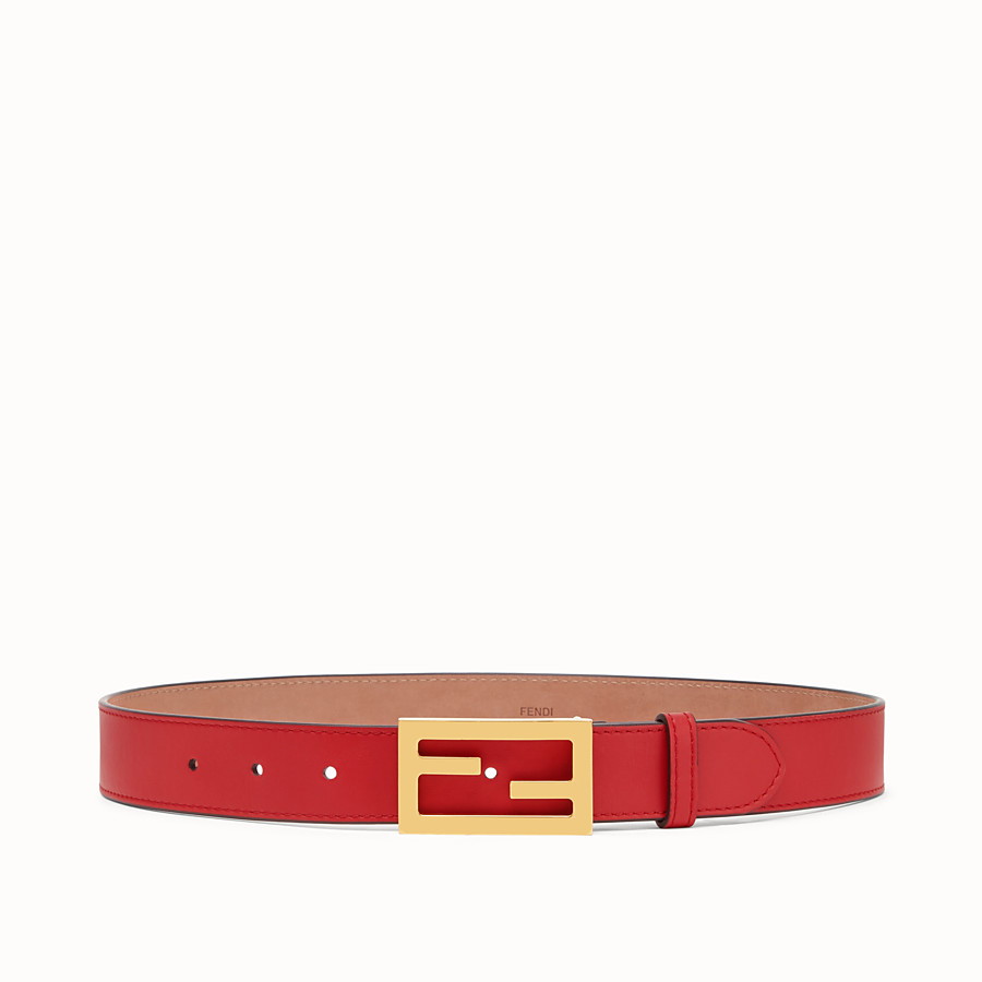 FENDI BELT - Red leather belt - view 1 detail