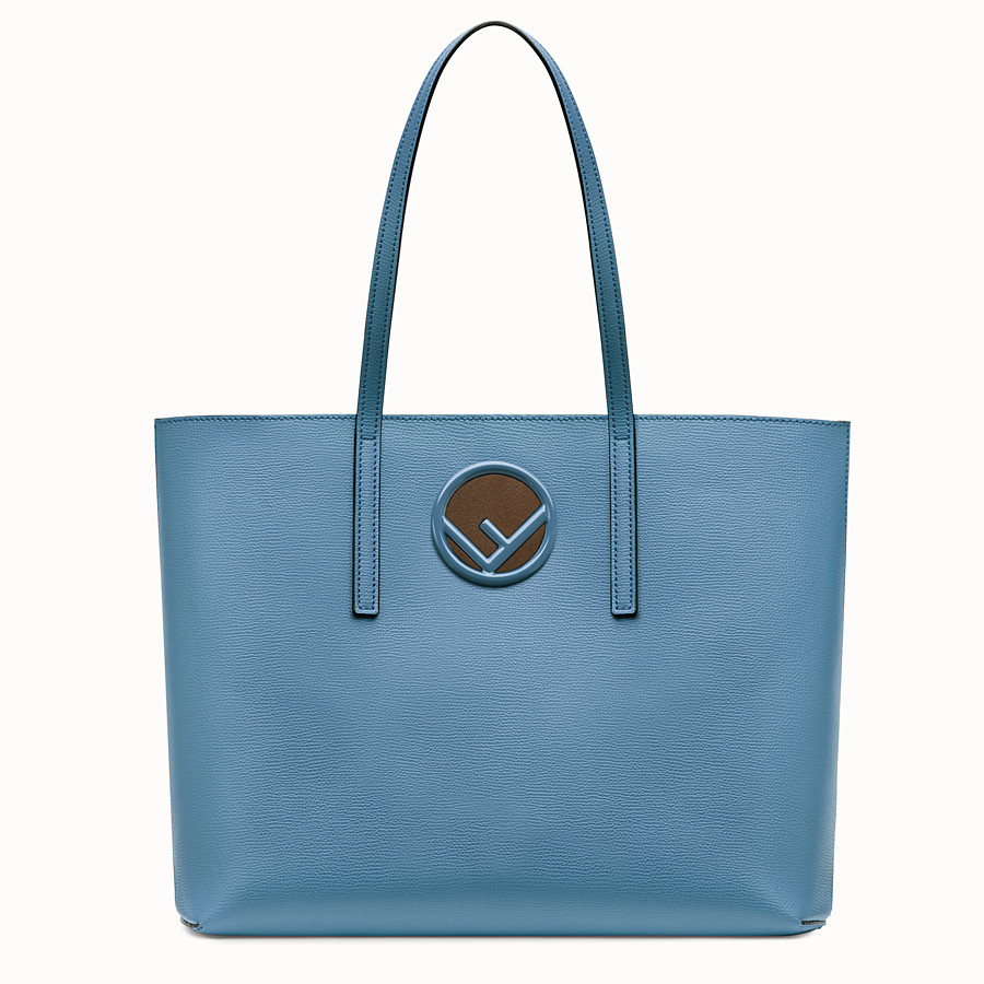 FENDI SHOPPING LOGO - Shopper in pelle blu - vista 1 dettaglio