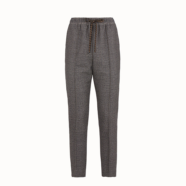 FENDI TROUSERS - Micro-check wool jogging trousers - view 1 small thumbnail
