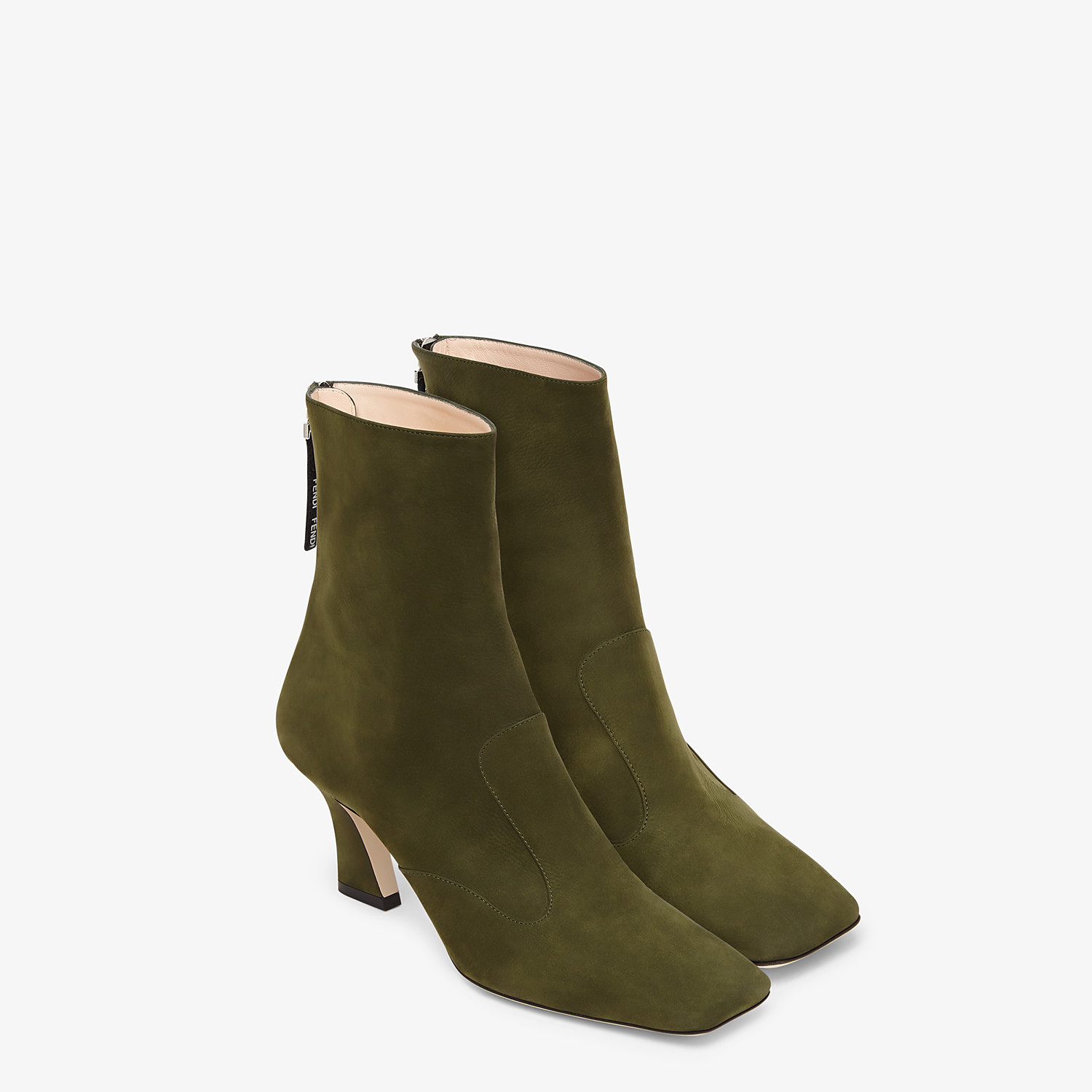 FENDI ANKLE BOOTS - Booties in green nubuck leather - view 4 detail