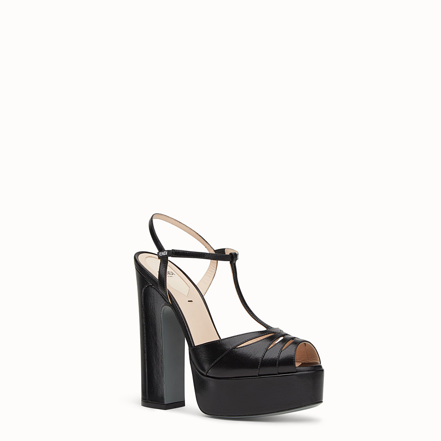 FENDI SANDALS - High-heeled sandals in black leather - view 2 detail