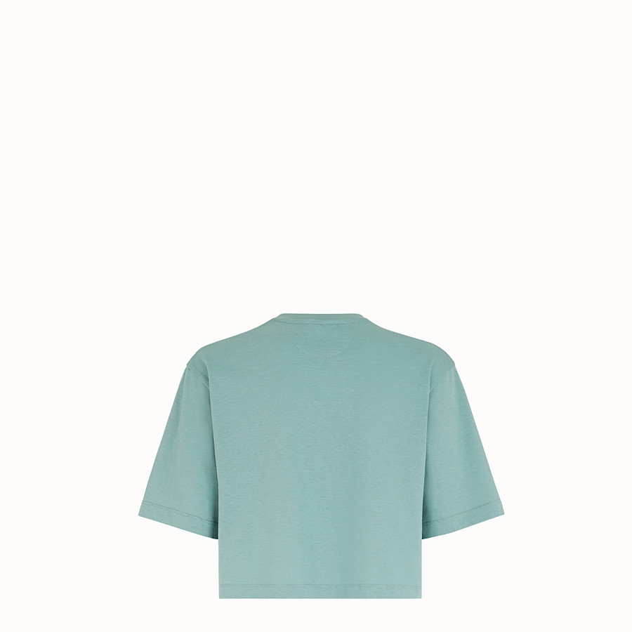 FENDI T-SHIRT - Pale blue cotton T-shirt - view 2 detail
