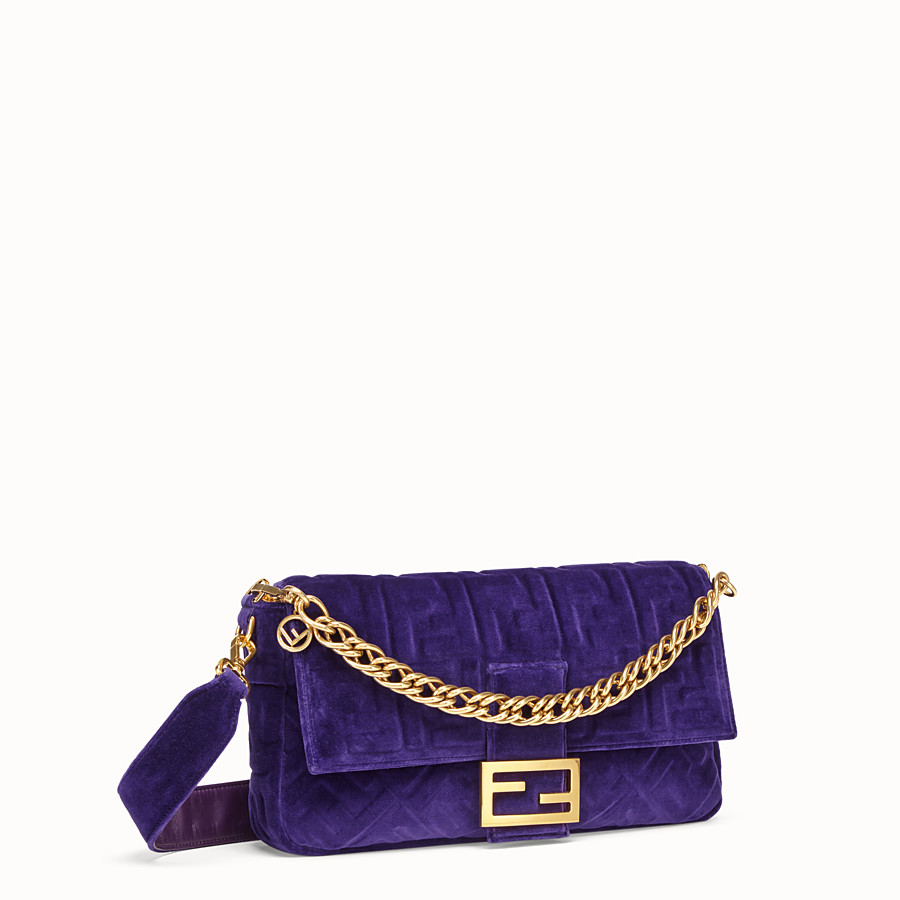 FENDI BAGUETTE LARGE - Purple velvet bag - view 2 detail