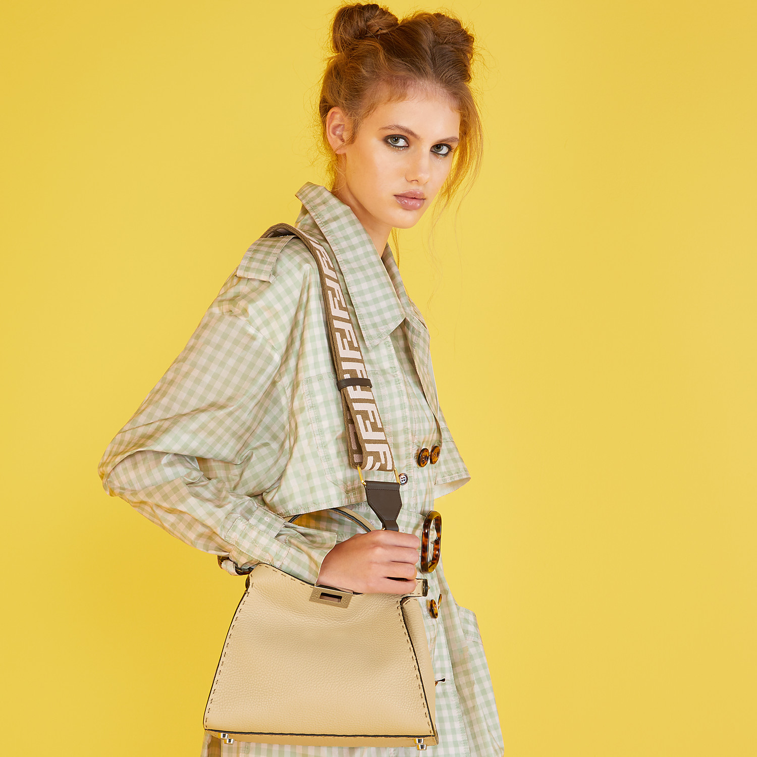 FENDI PEEKABOO ICONIC ESSENTIALLY - Beige Cuoio Romano leather bag - view 2 detail