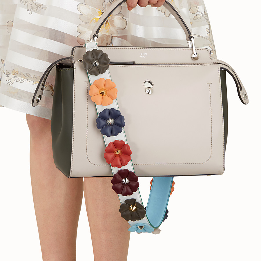 FENDI STRAP YOU - Shoulder strap in white leather with flowers - view 2 detail