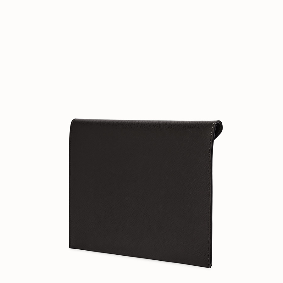 FENDI FLAT POUCH - Black leather pouch - view 2 detail