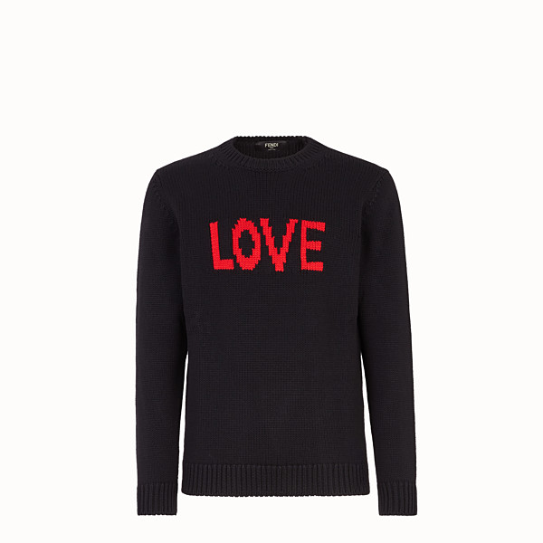 FENDI PULLOVER - Black and red wool round-neck pullover - view 1 small thumbnail