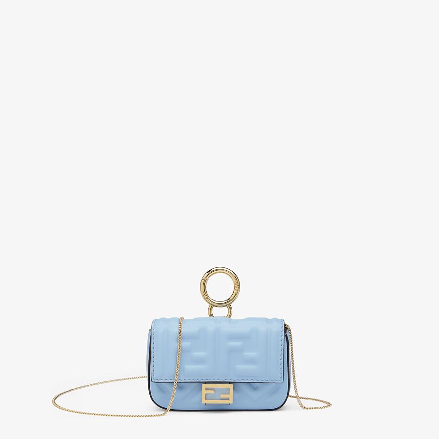 FENDI NANO BAGUETTE CHARM - Light blue nappa leather charm - view 1 detail