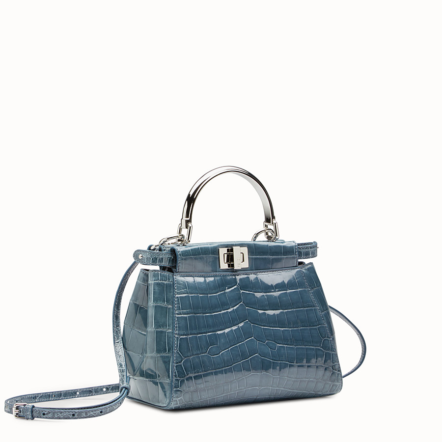 FENDI PEEKABOO MINI - Blue crocodile bag - view 2 detail