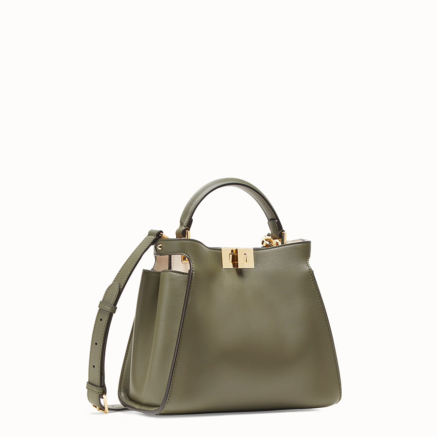 FENDI PEEKABOO ESSENTIALLY - Green leather bag - view 2 detail