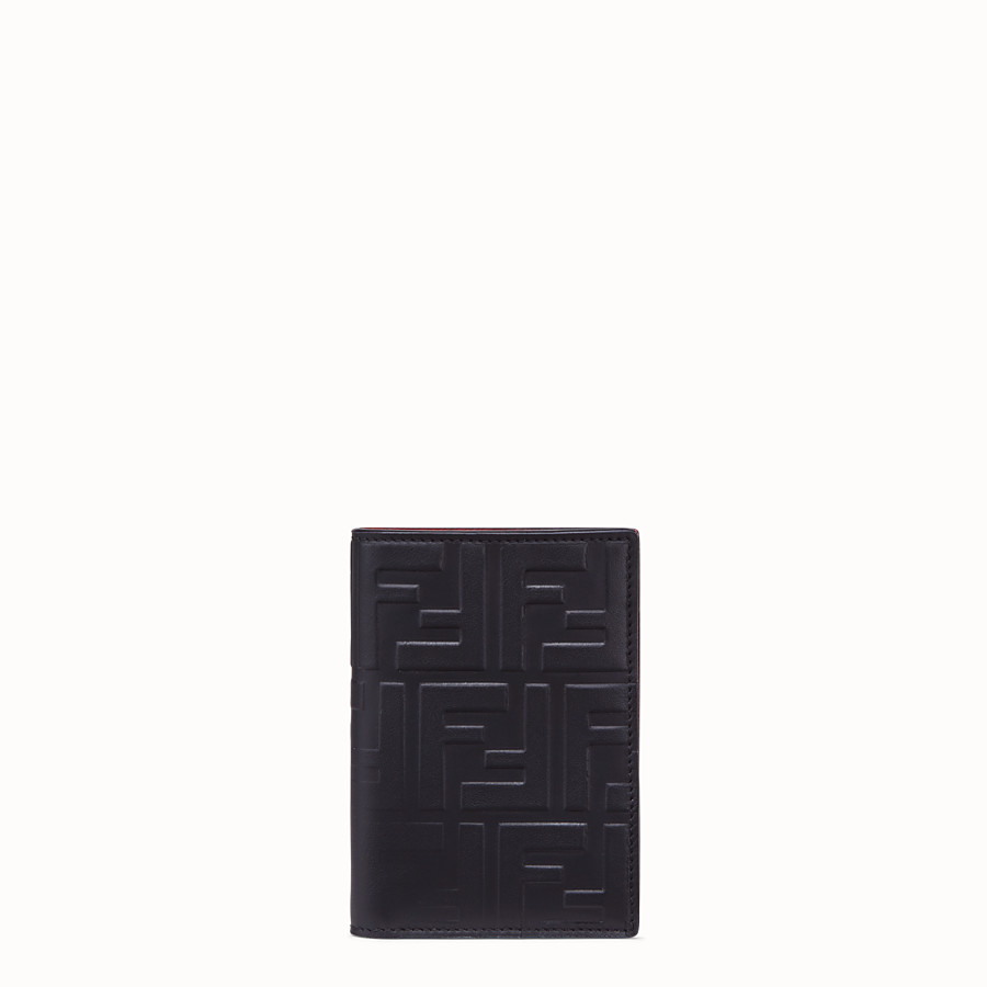 FENDI VERTICAL CARD HOLDER - Black calf leather wallet - view 1 detail
