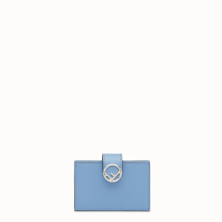 FENDI CARD HOLDER - Light blue leather gusseted card holder - view 1 detail