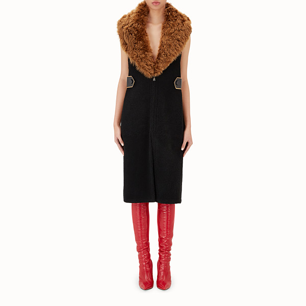 FENDI GILET - Gilet in black shearling - view 1 small thumbnail