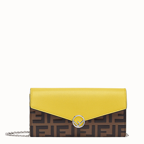 FENDI CONTINENTAL WITH CHAIN - Yellow leather wallet - view 1 small thumbnail