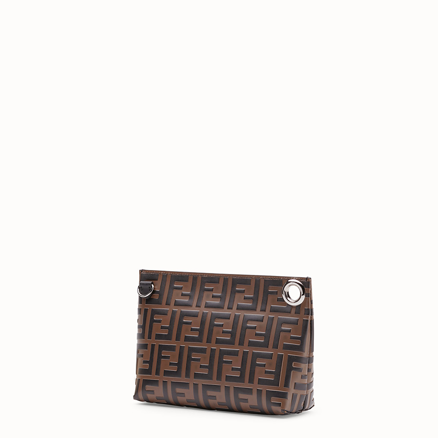 FENDI MEDIUM PYRAMID POUCH - Brown leather pouch - view 2 detail