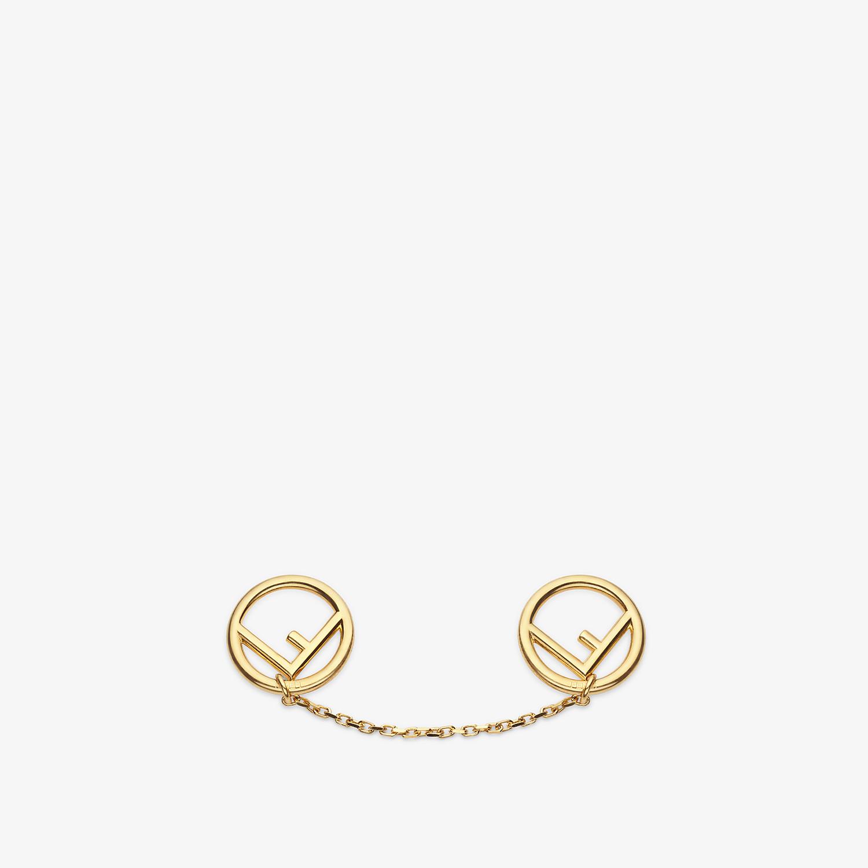 FENDI F IS FENDI BROOCH - Gold coloured brooch - view 1 detail