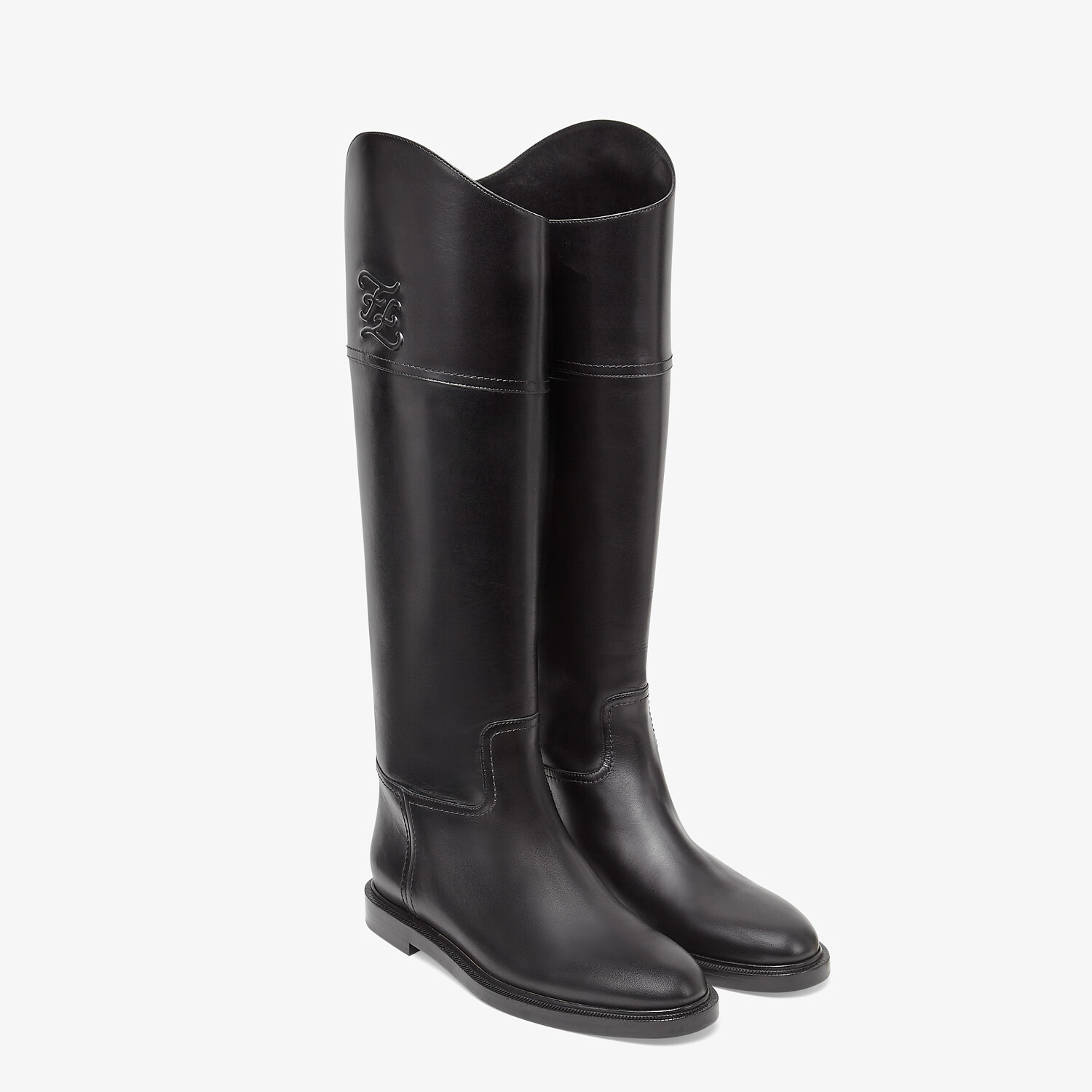 FENDI KARLIGRAPHY - Black leather boots - view 4 detail