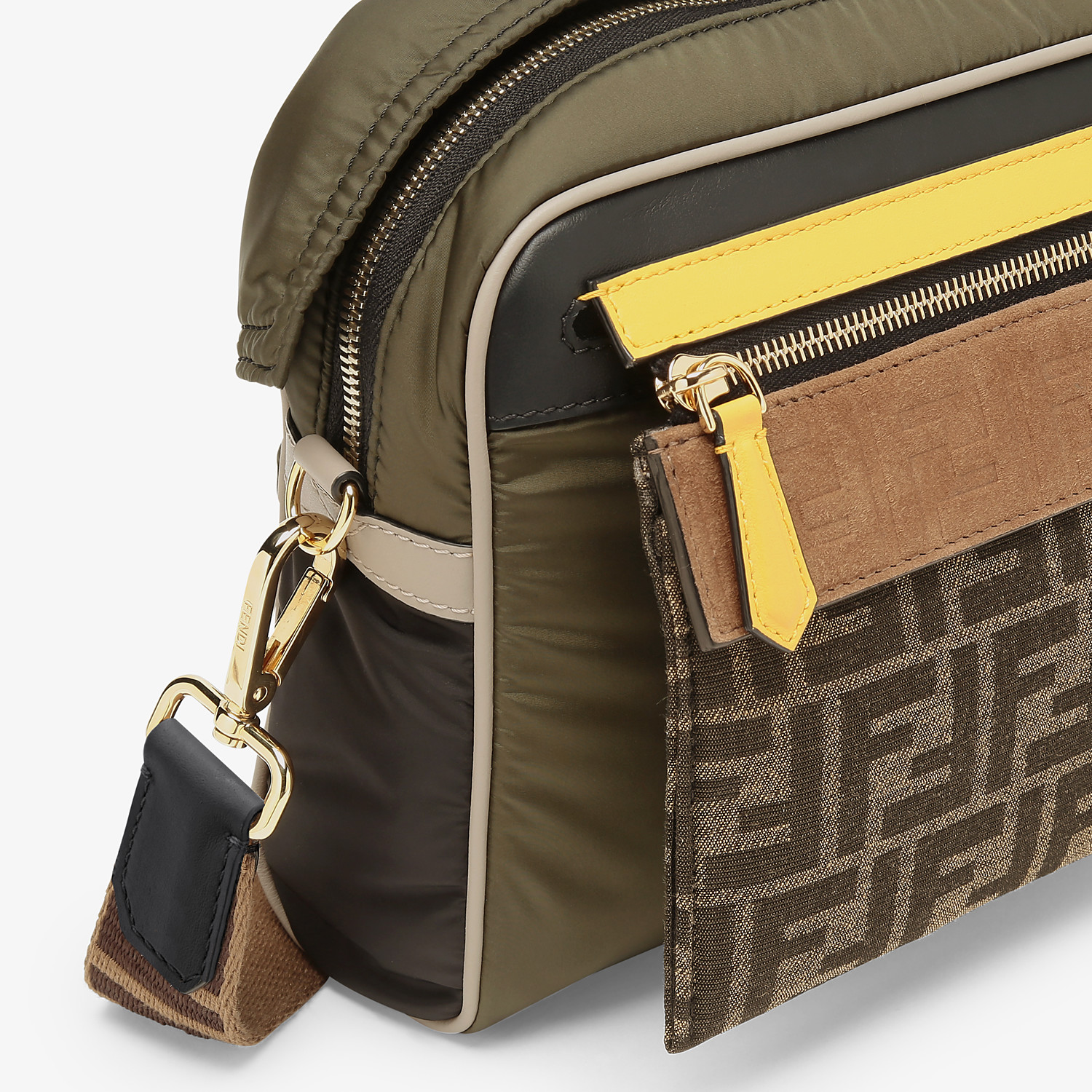 FENDI MESSENGER - Green nylon bag - view 6 detail