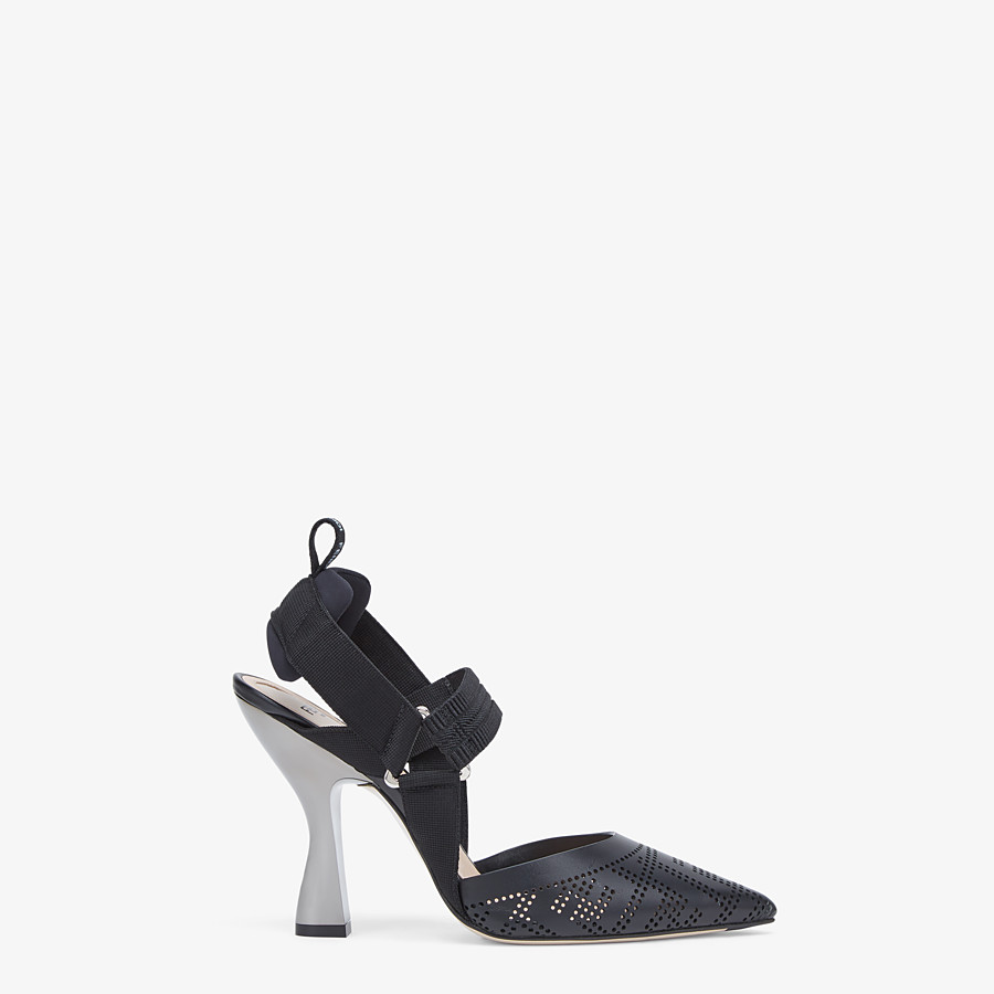 FENDI SLINGBACKS - Black leather Colibrì slingbacks - view 1 detail