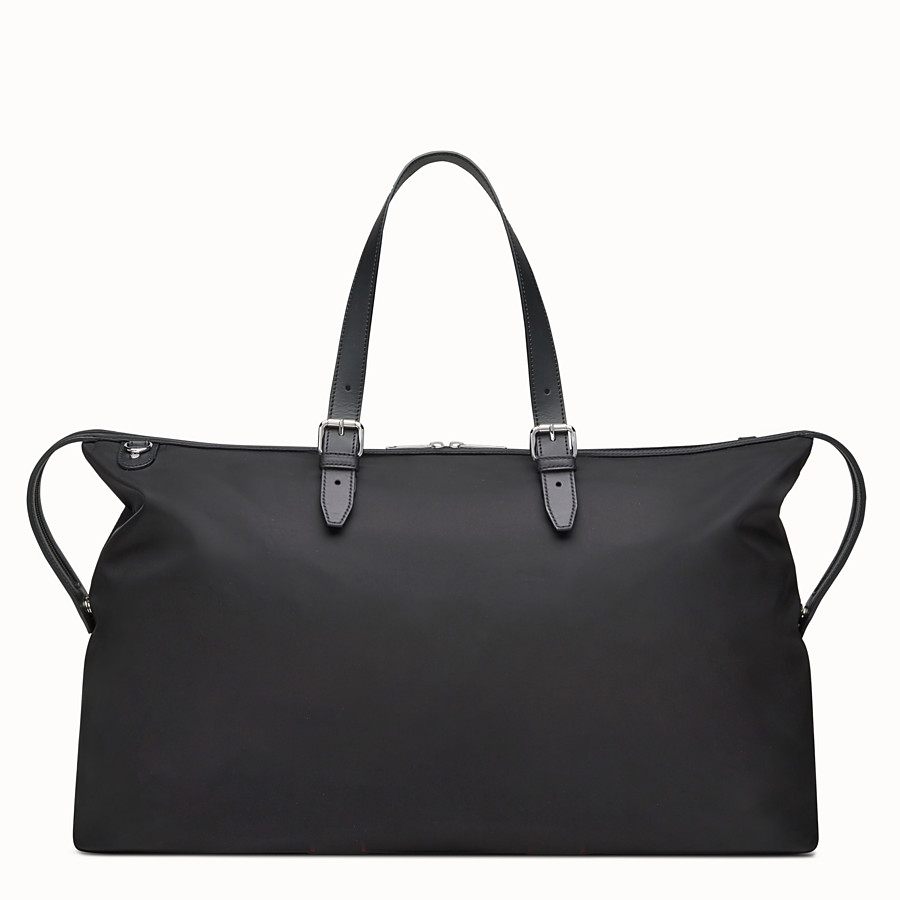 FENDI DUFFEL BAG - Travel bag in black nylon and leather - view 3 detail
