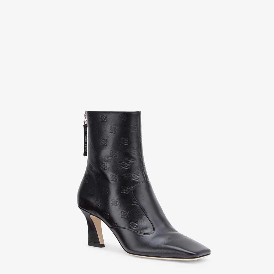 FENDI BOOTS - Black leather booties - view 2 detail