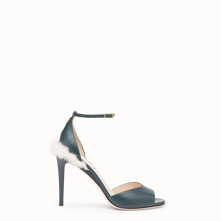 FENDI SANDALS - Green leather high sandals - view 1 detail