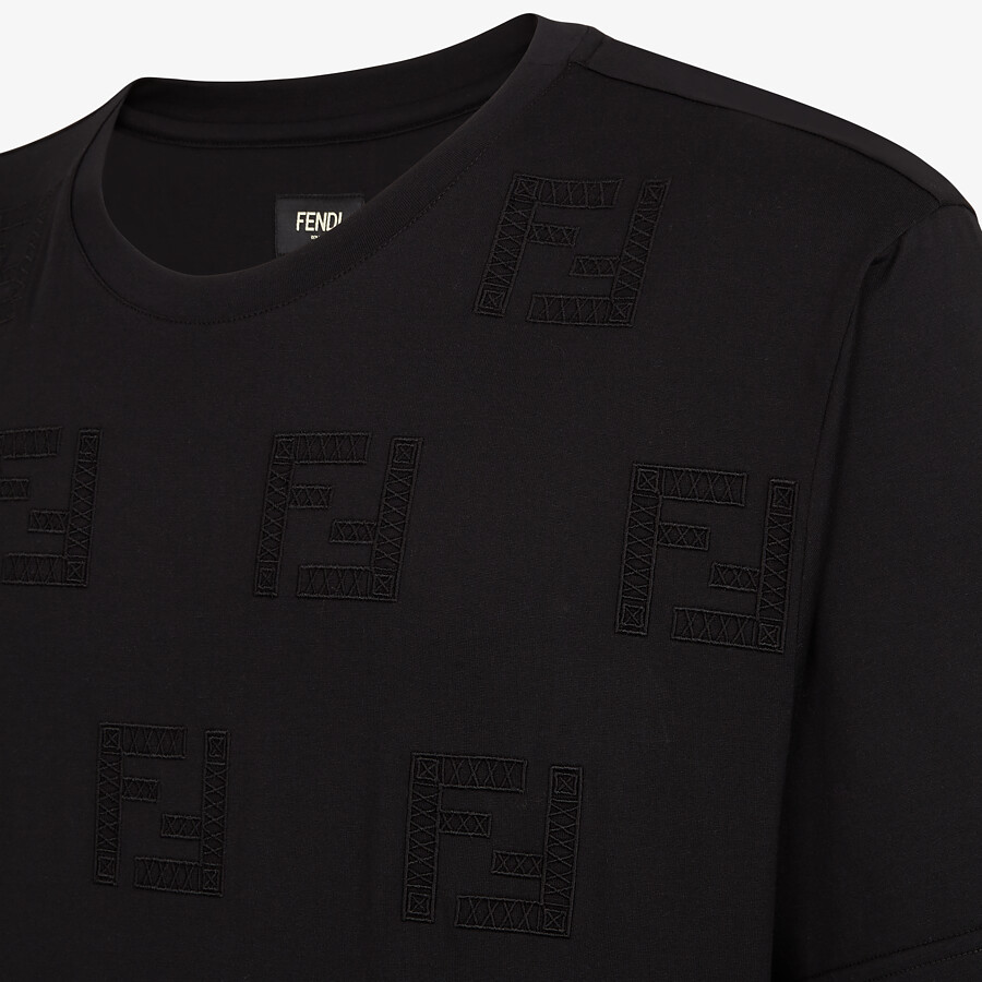 FENDI T-SHIRT - Black cotton T-shirt - view 3 detail