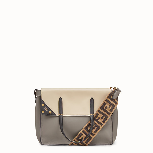 FENDI FENDI FLIP REGULAR - Grey leather bag - view 1 small thumbnail