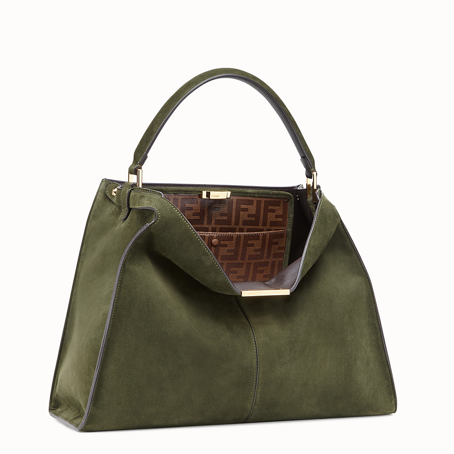 FENDI PEEKABOO X-LITE - Green suede bag - view 3 detail