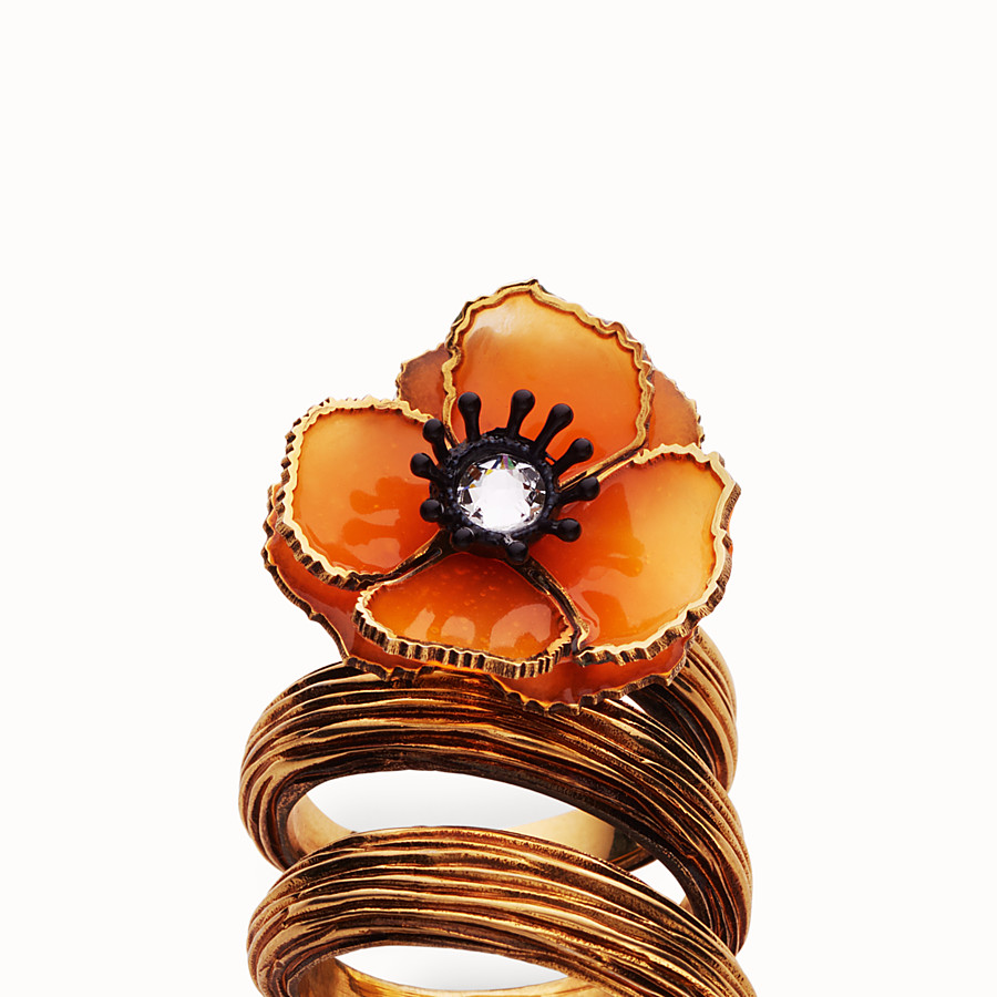 FENDI FLOWER RING - Orange enamel ring - view 2 detail