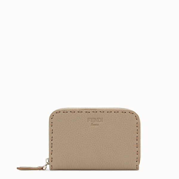 FENDI SMALL ZIP-AROUND - Beige leather wallet - view 1 small thumbnail